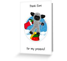 Thank You For My Christmas Presents - Little Sheep Thank You Card Greeting Card