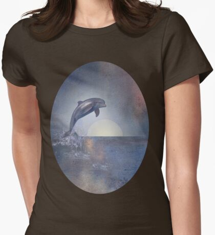 Joy Of The Leaping Dolphin Womens Fitted T-Shirt