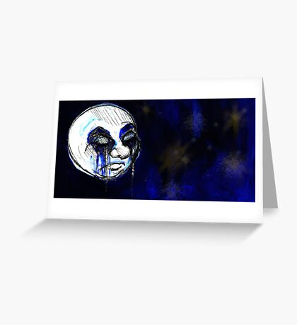 sad lonely moon Greeting Card