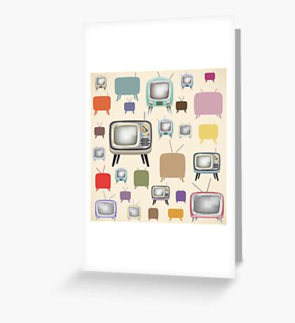 vintage television pattern Greeting Card