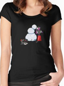 2 penguins, 1 snowman Women's Fitted Scoop T-Shirt