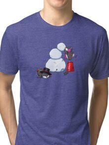 2 penguins, 1 snowman Tri-blend T-Shirt