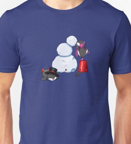 2 penguins, 1 snowman Unisex T-Shirt