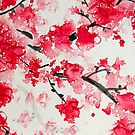 Red Cherry Blossoms by Kathie Nichols