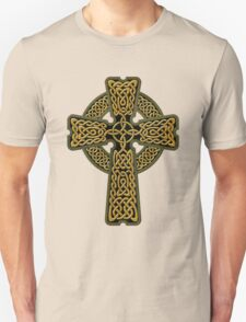 Celtic Cross in gold colors Unisex T-Shirt