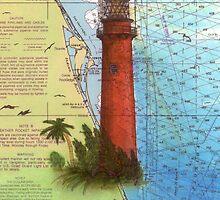 Jupiter Inlet Lighthouse FL Chart Map Cathy Peek by Cathy Peek