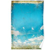 grunge blue sky and cloud Poster