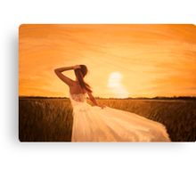 bride on sunset Canvas Print