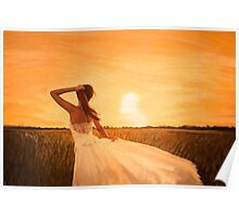 bride on sunset Poster