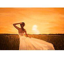 bride on sunset Photographic Print