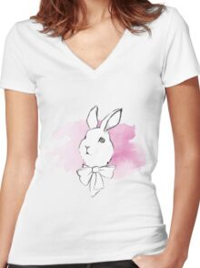 Simple rabbit sketch Women's Fitted V-Neck T-Shirt