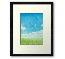 green field and blue sky Framed Print