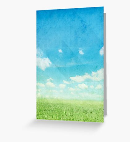 green field and blue sky Greeting Card