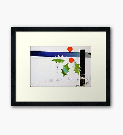 Holly and blue ribbon Framed Print
