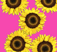 Ipad case - Sunflowers Shocking Pink by Mark Podger