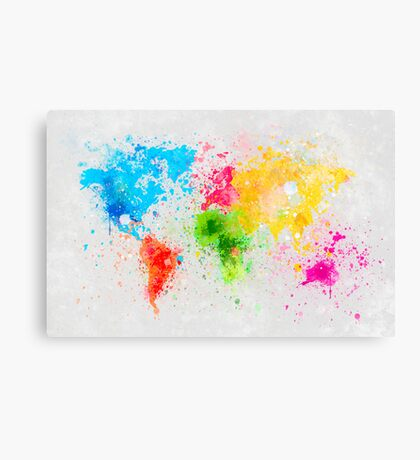 world map painting Canvas Print