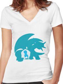 PKMN Silhouette - Bagon Family Women's Fitted V-Neck T-Shirt