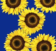 Ipad case - Sunflowers Dark Blue by Mark Podger