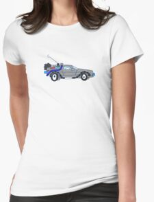 Back to the Future Delorean Womens Fitted T-Shirt