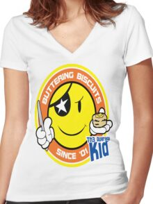 Th3AverageKid Buttering Biscuits Since '01 Women's Fitted V-Neck T-Shirt