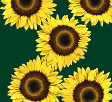 Ipad case - Sunflowers Dark Green by Mark Podger