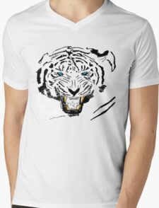 Vector Blue-Eyed Tiger  Mens V-Neck T-Shirt