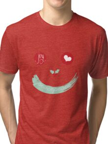 Christmas Peace Love Joy Holiday Smiley Tri-blend T-Shirt