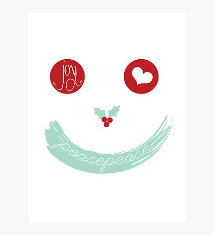 Christmas Peace Love Joy Holiday Smiley Photographic Print