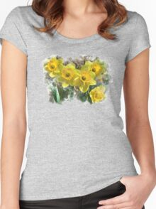 Spring Daffodils Watercolor Art Women's Fitted Scoop T-Shirt