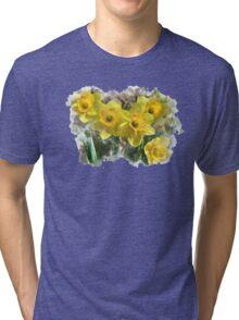 Spring Daffodils Watercolor Art Tri-blend T-Shirt