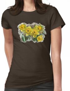 Daffodil Watercolor Womens Fitted T-Shirt