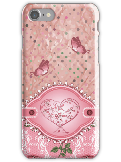 Pink Girly Cute Polka Dots Roses Pattern iPhone 5 Case / iPhone 4 Case / Samsung Galaxy Cases  by CroDesign