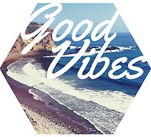 Good Vibes Beach Ocean Tumblr Trendy Hipster Print by Big Kidult