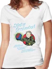 Sticky Grenades! Women's Fitted V-Neck T-Shirt