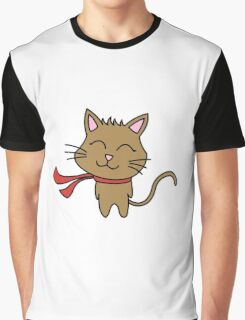 Happy Kitty Wind Graphic T-Shirt