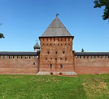 tower and wall of the Novgorod Kremlin by mrivserg