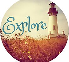 Lighthouse Boho Beach Ocean Typography Travel Explore Print by Big Kidult