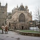 Exeter cathedral facade 198101140003m  by Fred Mitchell