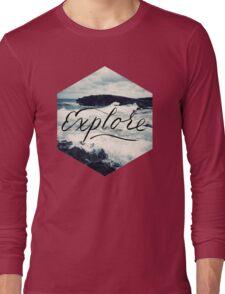 Explore Beach Wave Ocean Typography Photo Long Sleeve T-Shirt