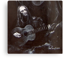 Willie Nelson Black and White crop Canvas Print