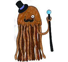 Mr Stinger the Gentleman Jellyfish in orange Photographic Print