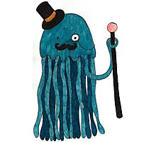 Mr Stinger the Gentleman Jellyfish in blue Photographic Print