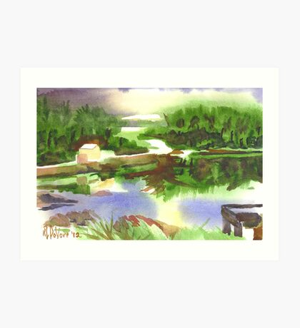 Bright Evening Dusk at Shepherd Mtn. Lake Art Print