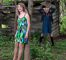 Two Young Girls Hamming It Up by photobylorne