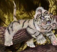 Tiger Pause, Tiger Cub by Alma Lee pop surrealism by Alma Lee