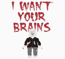 I WANT YOUR BRAINS ZOMBIE MINIFIG by Customize My Minifig by ChilleeW