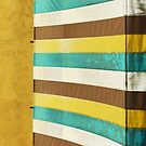 colorful grunge canvas on yellow wall by naphotos