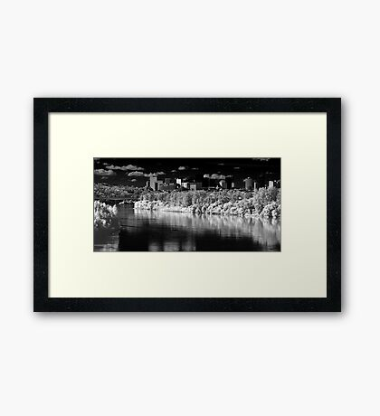 Morning Skyline with River Framed Print