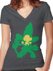 PKMN Silhouette - Pansage Family Women's Fitted V-Neck T-Shirt
