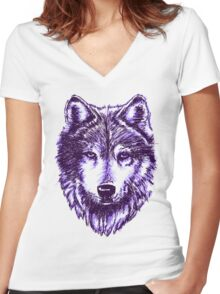 Timber Wolf-Purple Women's Fitted V-Neck T-Shirt